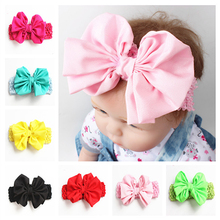 Big Bow Headbands Elastic Headwear Chiffon Toddler Hairband Girls Hair Rope Kids Hair Bands Hollow Hair Accesories Free Shipping