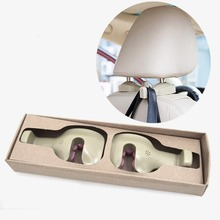 Universal Car Seat Headrest Hook Hanger Organizer for Suit Coat Shopping Bag Beverage Drinking Bottle Vehicle Interior(Beige)