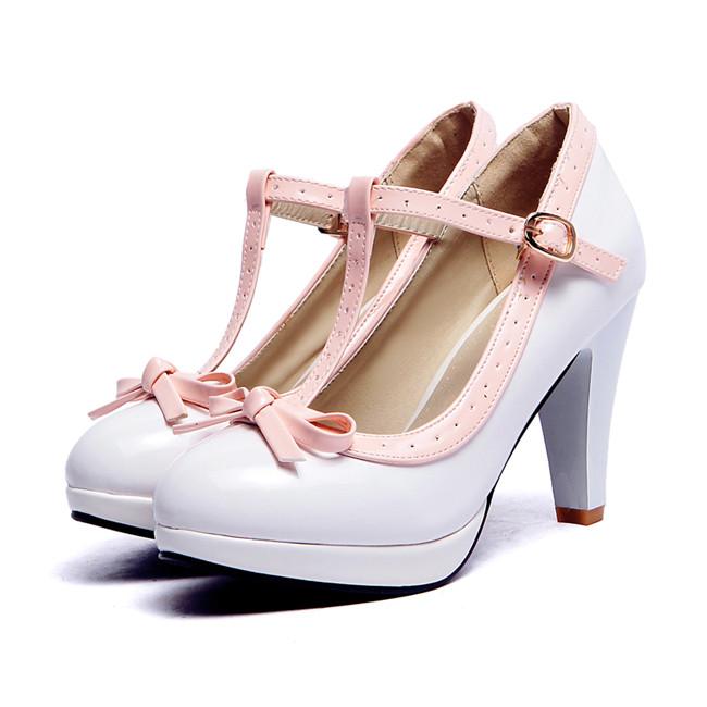 Shop cheap sale Princess Lolita Mary Jane High Heels Red White Bowtie Shoes