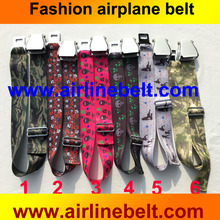 Free shipping new product printed logo top quality airline airplane aircraft buckle fashion jeans/pants belt for man and lady