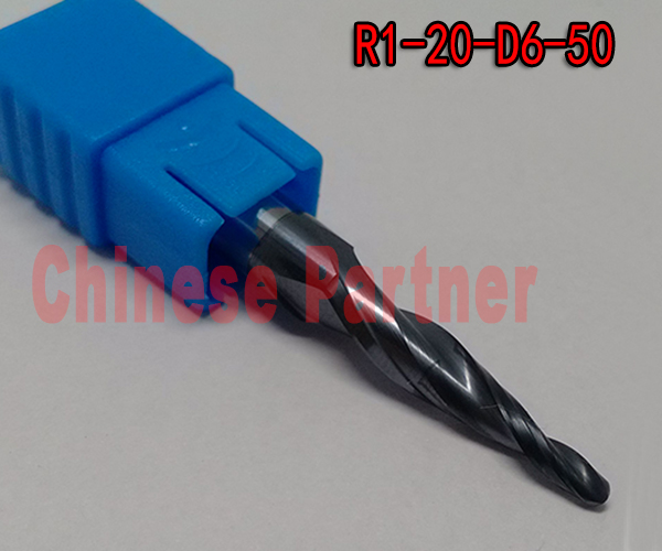 2pcs/lot R1*D6*20*50L*2F HRC55 Tungsten solid carbide Taper Ball Nose End Mill milling cutter cnc router bit wood knife tool<br><br>Aliexpress