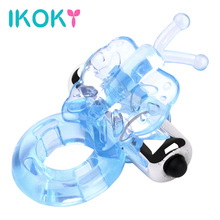IKOKY Powerful Dildo Vibrator TPE Sex Shop Butterfly Vibrating Cock Penis Ring Sex Toys for Man Adult Products(China)