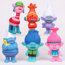 6pcs/set Trolls Baby trolls Bobby Blanche doll toys children doll ornaments Automotive Decoration 7.5cm