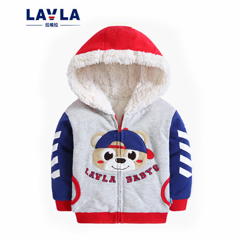 Childrens clothing 2016 autumn winter new boys warm cotton jacket girls cartoon cute bear fleece thicken coat costume for kids<br>