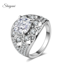 Wholesale Sliver Plated Italian Brand Rings DIY Strass Flower Ring Jewelry MR174#(Free Shipping)