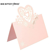 BESTOYARD 50pcs Love Heart Name Tag White Place Card Seat Pink Card Name Card Table Card For Weddings Feasts Or Parties