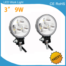 2 pieces Free shipping Lower power consumption 9w 12v 24v 3inch Tractor Trailer Truck Flood Spot led work light(China)