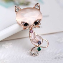 LNRRABC Fashion Trendy Women Unique Lovely Fox Shape Opal Rhinestones Charming Brooch Pin Jewelry Accessorise Gift(China)