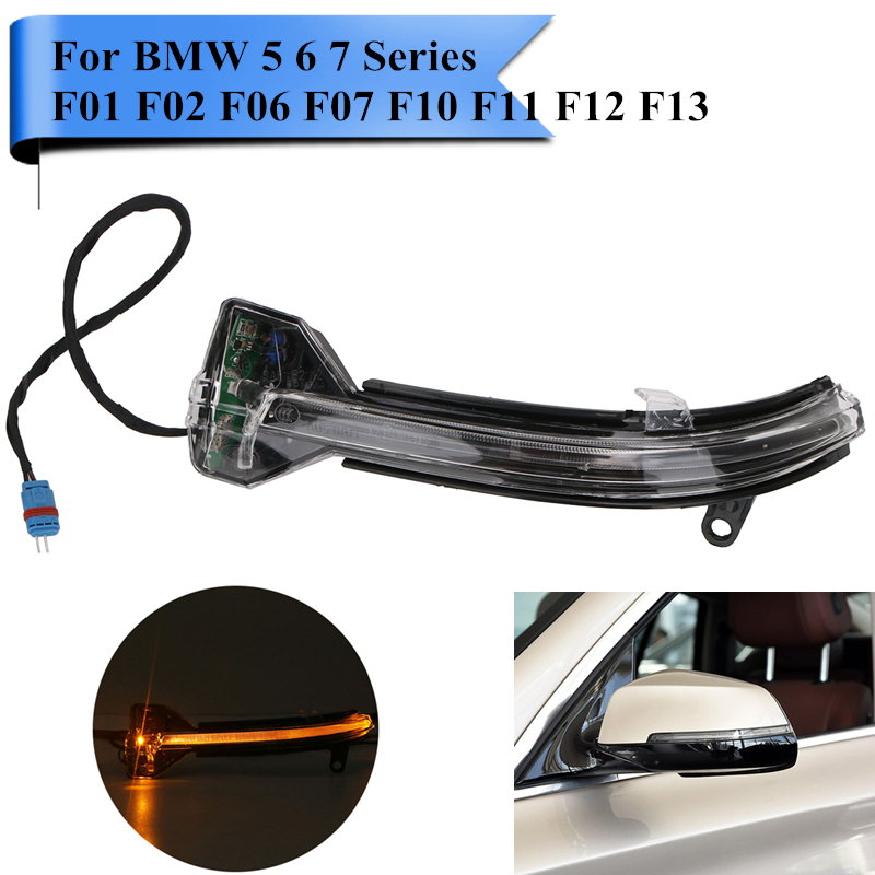 Left LED Rearview Side Mirror Indicator Turn Signal Light Direction Blinker Lamp For BMW F10 535i 550i ix F01 F07 F02 #WN179-L<br>