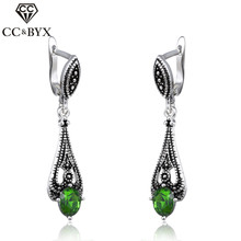 CC Jewelry Silver Color Water Drop Earring Green Stone CZ Dangle Earrings For Women Vintage Accessories Wedding Gift CCE148