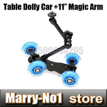 "Buy New Mini Desktop Camera Rail Car Table Dolly Car +7""Inch Articulating Magic Arm canon 5D2 60D 7D 550D 5D3 60D 1DX 350D 450D for $26.67 in AliExpress store"