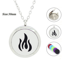 New arrival! 30mm magnetic flame design perfume locket pendant 316l stainless steel essential oil diffuser necklace