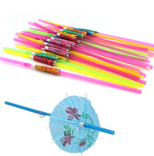 Arsmundi 50Pcs/set Umbrella Parasol Drinking Straws Hawaiian Hula Beach Cocktail Party Decor Colorful Mixed Colors