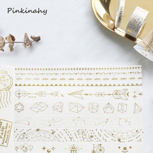 5/15/30mm Retro Gold Foil Gild Washi Tape Japanese Cute DIY Decorative Sticker Scrapbooking Diary Planner Notebook Masking Tape(China)