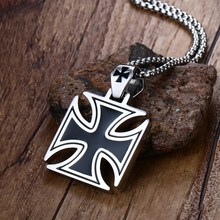 Vnox Mens Corss Necklace Stainless Steel Vintage Maltese Iron Cross Pendant Necklace Knights of the Temple
