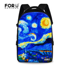 FORUDESIGNS Hot Sale female flower print backpacks vintage painting canvas school backpack women travel galaxy van gogh backpack
