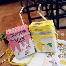 Personality Milk Box Shape Shoulder Bag Strawberry /Lemon printed drink bottle shape bag with straw femle mobile phone bags