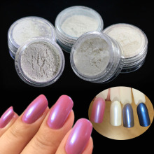 5 Colors + 2pcs Brush Nail Art Magic Glitter Laser Mermaid Effect Nail Chrome Pigment Powder Dust Tips Nail Art Set ND262x5