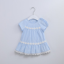 Idea Baby Girl Summer Cotton Dress Lace Flowers Beaded Cute Princess Dresses Newborn Clothes Free Ship(China)