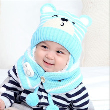 2017 bear beanies sets velvet wool kids boys Knitted fur hats winter 2 pcs baby girl scarf hat set Age for 12 months-4 Years(China)