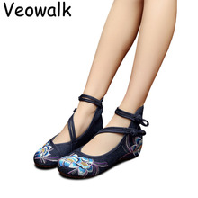 Veowalk Plus Size 41 Spring Shoes Woman Fashion Chinese Casual Flats For Women Flower Embroidered Mary Janes Cloth Walking Shoes