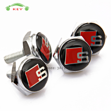 Car Styling License Plate Frame Screws S Line Sline Logo Auto License Plate Bolts Audi S1 S5 S3 S6 A3 A4L Q7 TT B5 Sport