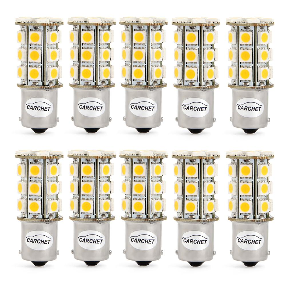 10pcs 1156 1141 1073 BA15S 27SMD 5050 LED Bulb Interior RV for Camper Trailer Interior Lights Car Boats Warm White<br><br>Aliexpress