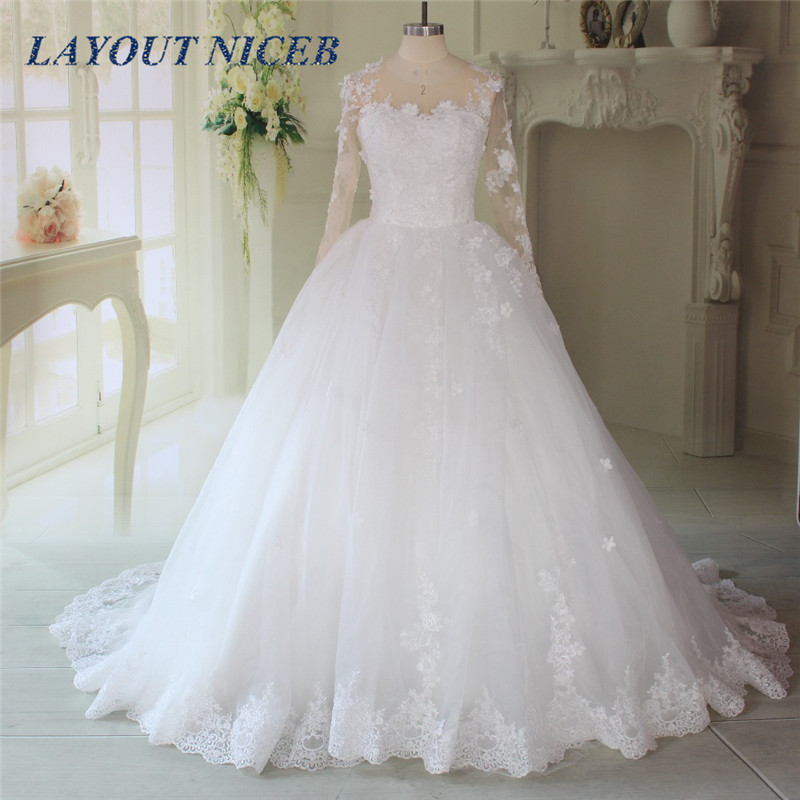 Lace Appliques Ball Gown Wedding Dresses 2017 Long Sleeves Brisal Gowns See Through Back Vestido De Novias Princess Gown