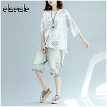 elseisle Boho T-shirt Women With Hole Hollow Out Plus Size Top Tees Vintage Japanese Punk Rock Print T Shirt Summer Women Blusa(China)