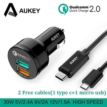 AUKEY 30W Quick Charge USB Car Charger for Xiaomi iPhone Samsung galaxy s8 Phone Car-Charger & Free USB type C / Micro-USB Cable(China)