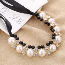 Fashion Women Maxi Necklaces Black Rope Chain String Imitation Pearls Beads Crystal Collar Chokers Chunky Necklaces & Pendants