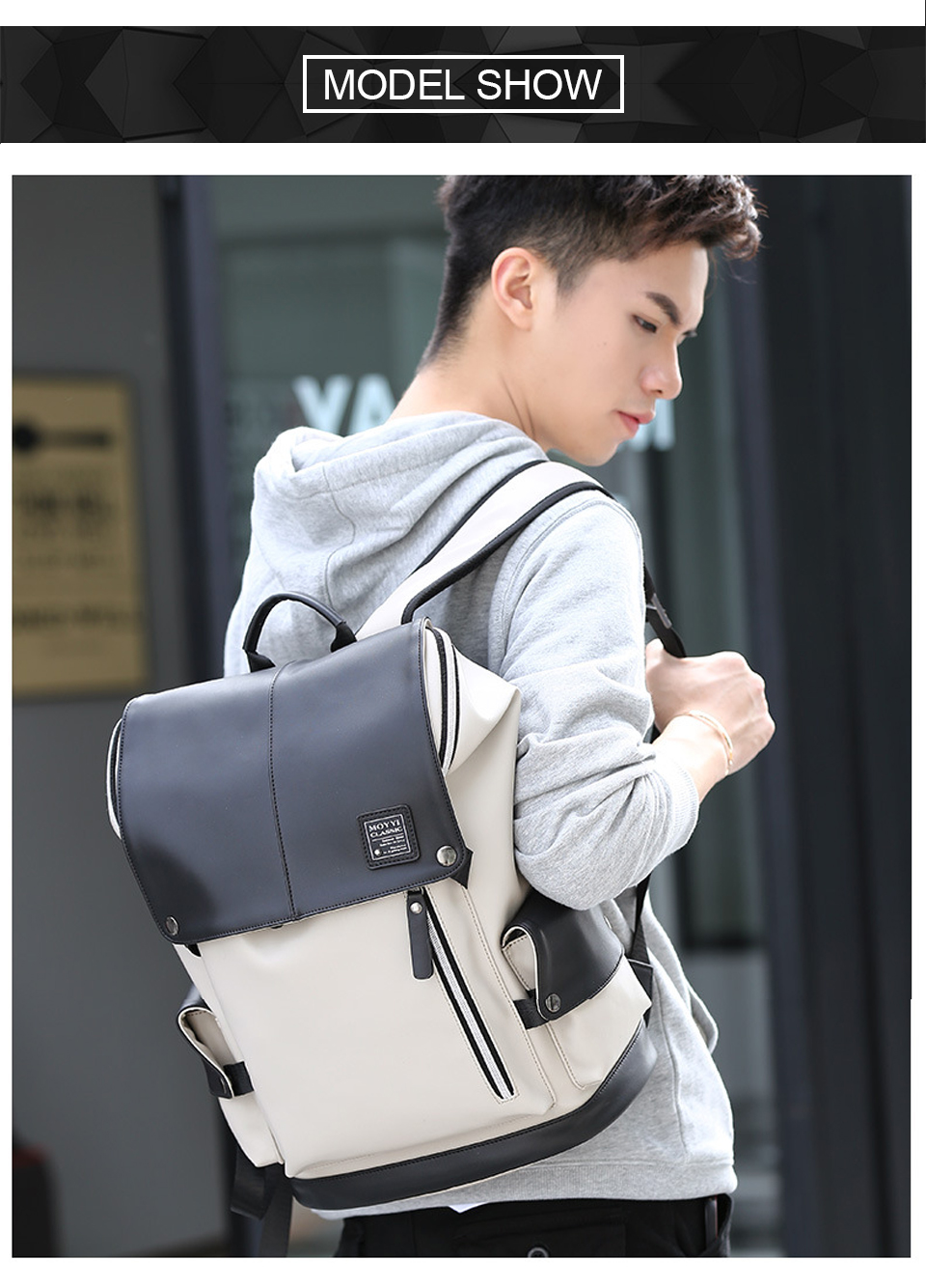 Men Backpack PU Leather Backpacks Male Laptop 17 Inch 15.6 Backpacking Women Female Bags Student Waterproof USB Charging Bagpack (15)