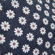 1 yard 90cm*145cm Small Daisy flowers printing Thin Denim Fabric Casual Dress Indigo Handmade DIY Sewing Patchwork Cloth Tecidos