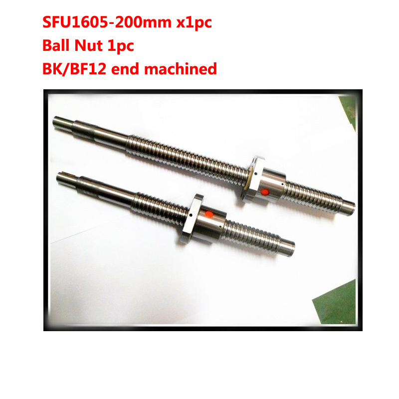 Free Shipping 16mm 1605 Ball Screw Rolled ballscrew 1pc SFU1605 L 200mm with 1pc 1605 Flange single ballnut for CNC parts<br>