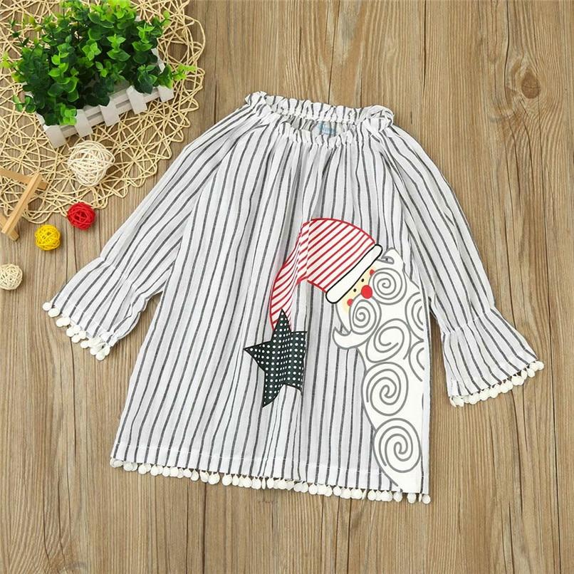 Christmas Clothes Girl Clothes Girls Dress Toddler Baby Kids Girls Santa Printed Striped Long Sleeve Princess Dress AU29#F (2)