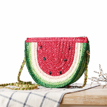 Ethnic Bohemian Women's Red Watermelon Straw Shoulder Bag.Cute Fruit Woven Straw Crossbody Messenger Bags.Holiday Boho Beach Bag