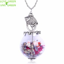 romantic dry flower girl glass cover bottle love gift Necklace DIY hand made necklace fashion Jewelry 3568