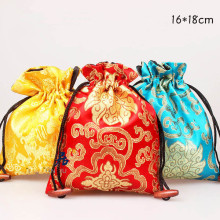 Large Floral Silk Satin Gift Bags for Jewelry Necklace Bangle Bracelet Travel Storage Bag Perfume Makeup Tools Packaging Pocket