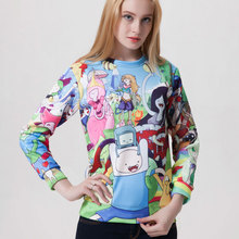 Womens Adventure Time Tracksuits Digital Printing Sporting Hoody 2015 Fall Winter 3D Cartoon Images Printed Sweatshirts Hoodies