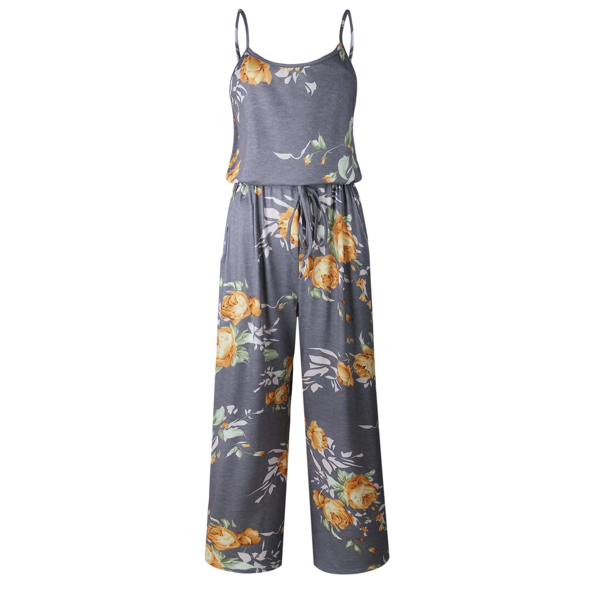 Spaghetti Strap Jumpsuit Women 2018 Summer Long Pants Floral Print Rompers Beach Casual Jumpsuits Sleeveless Sashes Playsuits 7