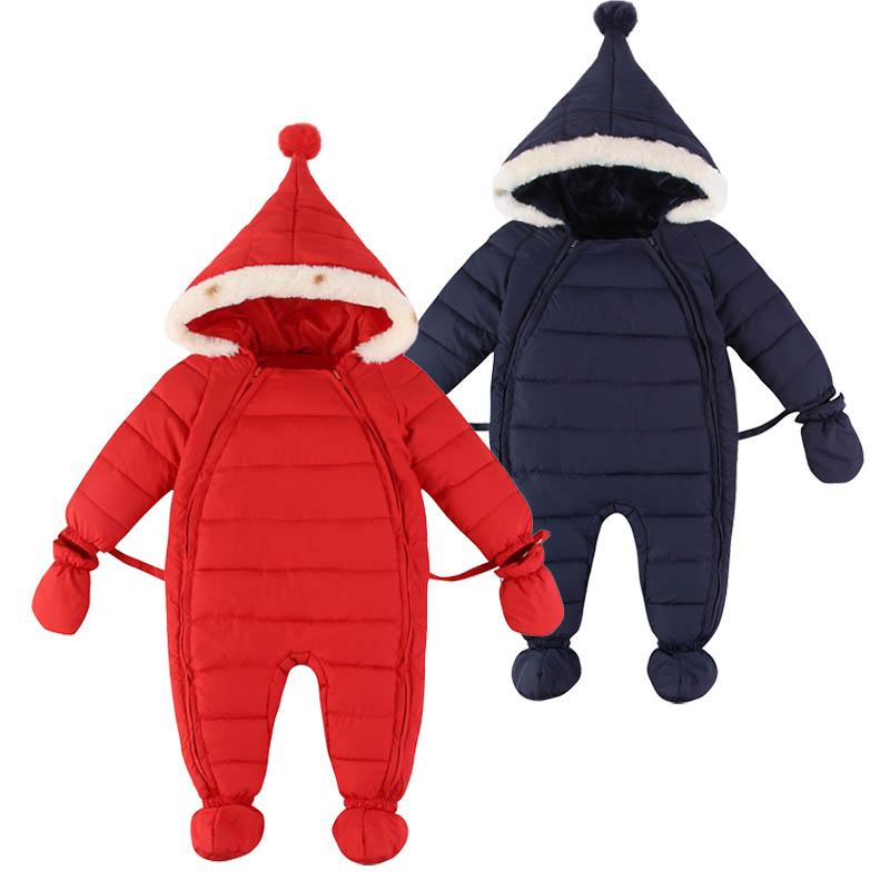 3pcs/set High Quality Winter Baby Clothing Sets Infant Boys Girls Hooded Rompers+Gloves+Foot Cover Warm Snowsuit Newborn Clothes<br><br>Aliexpress