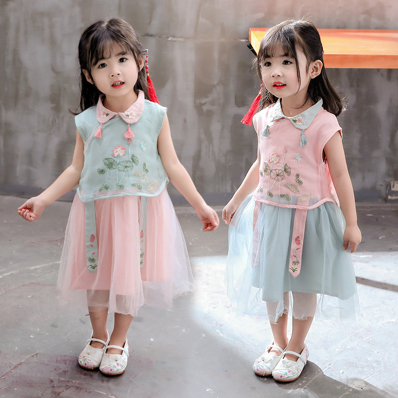 chinese style girls dress green pink summer toddler clothes Vintage sleeveless kids dresses for girl Han fu costume princess