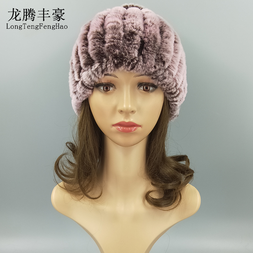 Elegant Real Rabbit Fur Hats for Women Natural Fur with Ball String Winter Woman Neck Ring Hats Striped Hats & Caps