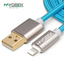 MyGeek 4.0 mm Nylon USB Cable For iPhone 5 s 5s 6s 6 7 Plus Mobile Phone cable Data Sync 5v 2a Charger 2m 3m Wire for ios 9 10