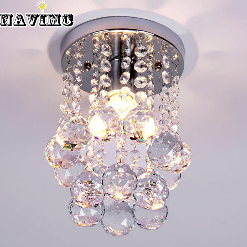 Energy-Saving LED Luxury Crystal Chandelier Simple Small Aisle Stair Hallway K9 Ceiling Lamp<br><br>Aliexpress