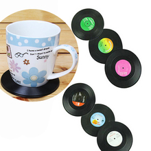6pcs/lot Hot Sale Vinyl Coaster Retro Vinyl CD Record Drink Wine Glasses Beer Bottle Cup Mat Hot Cold Drinks Table Mat  Placemat
