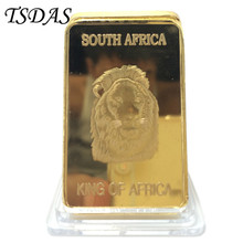 24K Gold Plated Bar South Africa Animal Series Of Lion Replica .999 Gold Bar Wildlife Pure Bullion Bar Souvenir Bar