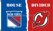 New York Rangers New Jersey Devils House Divided Flag150X90CM 100D  Polyester brass grommets custom flag, Free Shipping