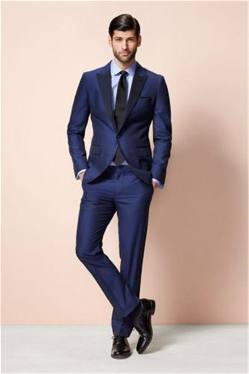 Mens Suits Modern Fashion Men's Blue Formal Suits Wedding Prom Groomsmen Tuxedos Best Man Suits (Jacket+Pants+Tie) 2019