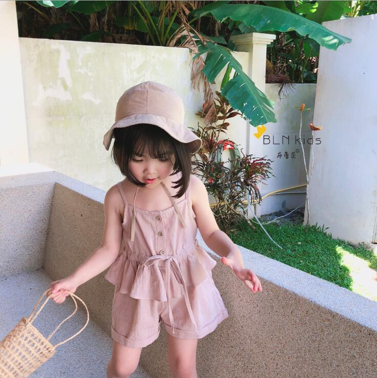 2019 New Fashion  Girls Ruffles Overalls Summer Cotton    Girls Shorts  1-6t PT141